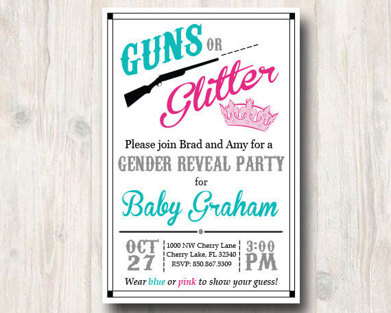 Guns or Glitter Gender Reveal Invitation