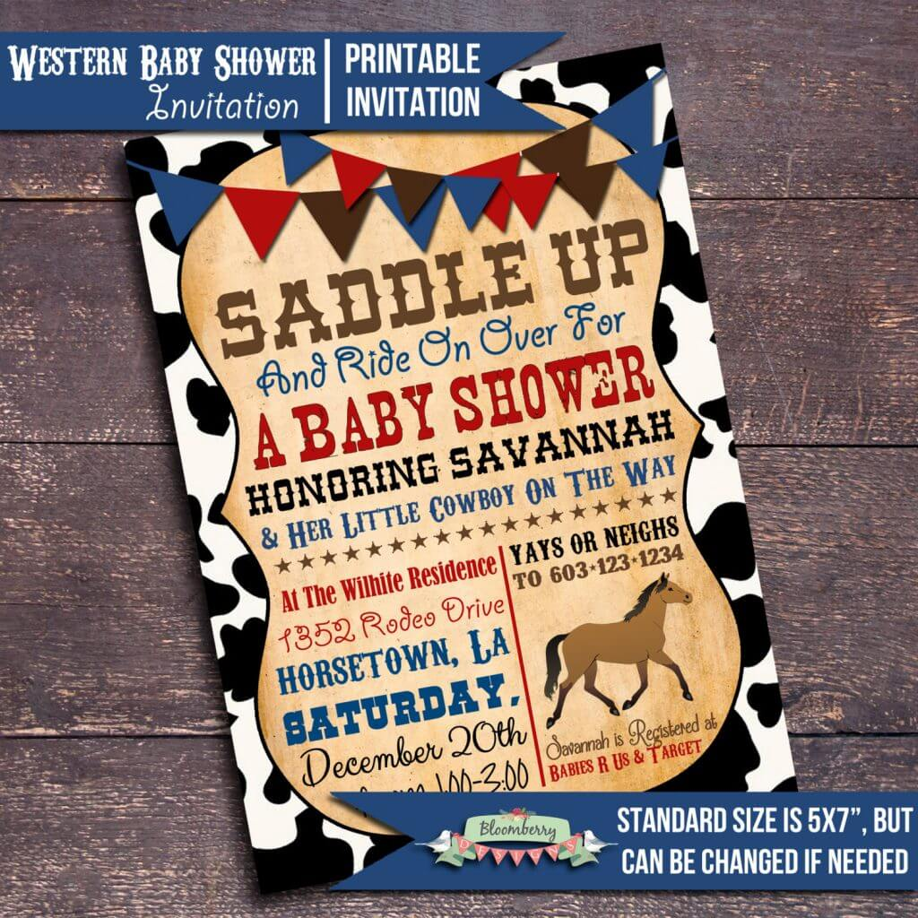 Printable Western Baby Shower Invitation