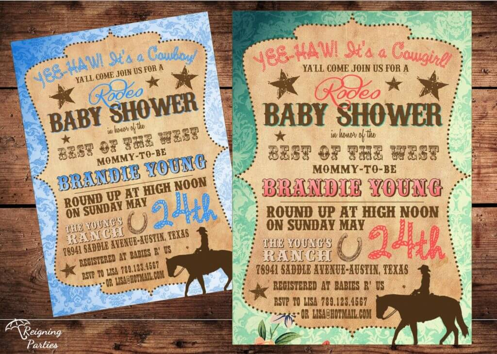Vintage Western Baby Shower Invitation