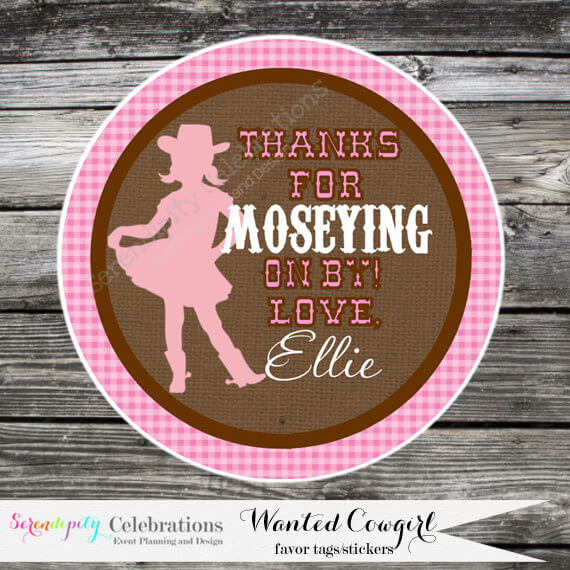 Wanted Cowgirl-Thank You Tag -Gift Tag -Baby Shower