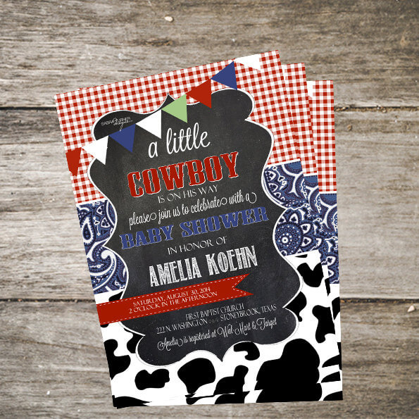 western baby shower invitation cowboy baby shower