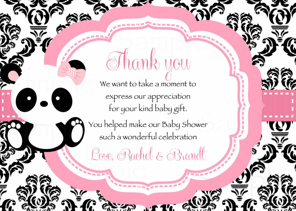 Baby Panda -Baby Shower Thank you card Damask pattern- Printable File