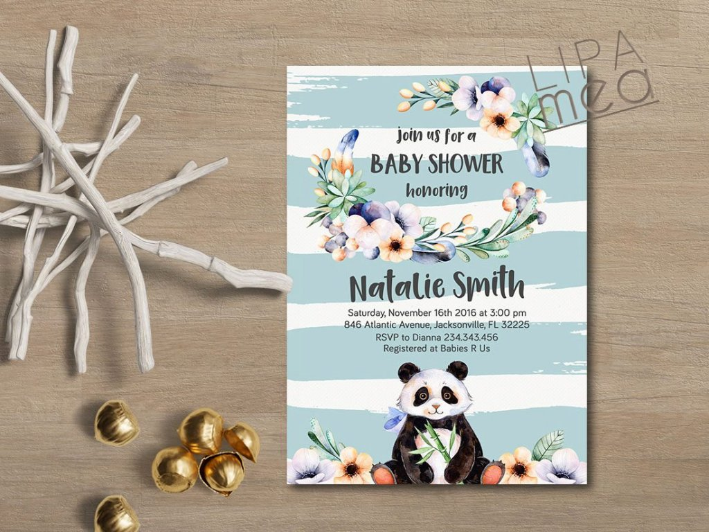 Boy Baby Shower Invitation, Panda Baby Shower Invitation, Bear Baby Shower Invitation, Printable Baby Shower Invitation, Boy Invitation