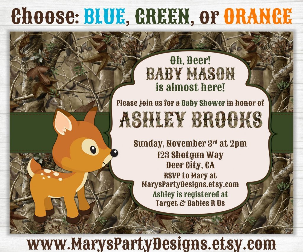 Camo Baby Boy Shower Invitation - Oh Deer Hunting