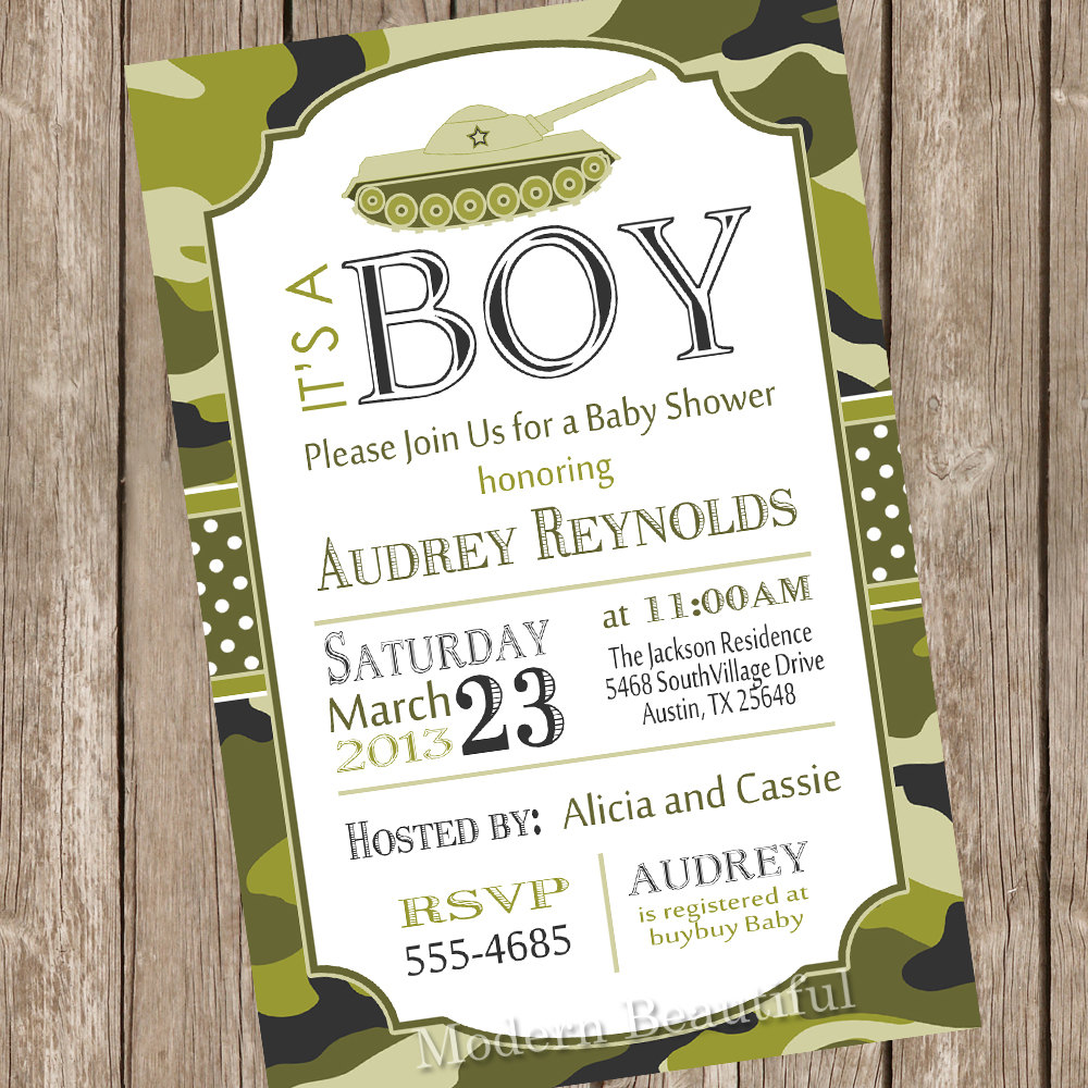 Camo Baby Shower Invitation