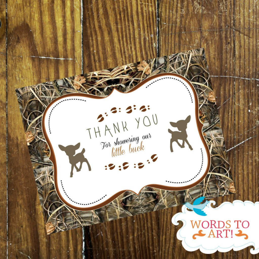 Deer Camouflage Baby Shower Thank you Cards