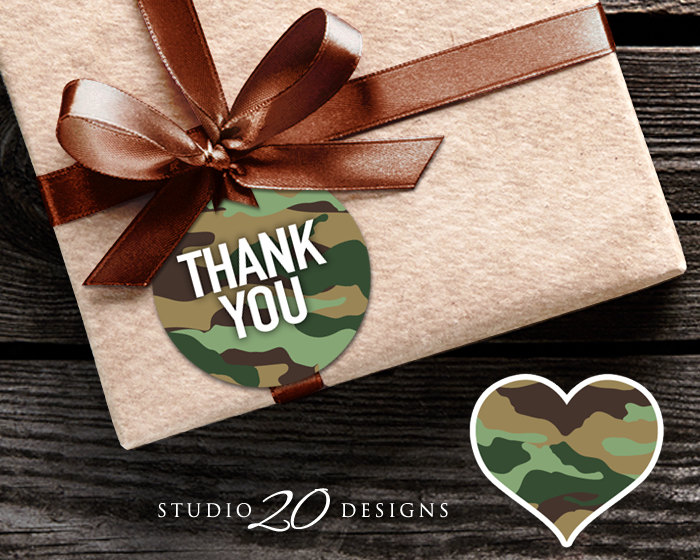 Green Camo Gift Tags, Camouflage Favor Tags, Instant Download