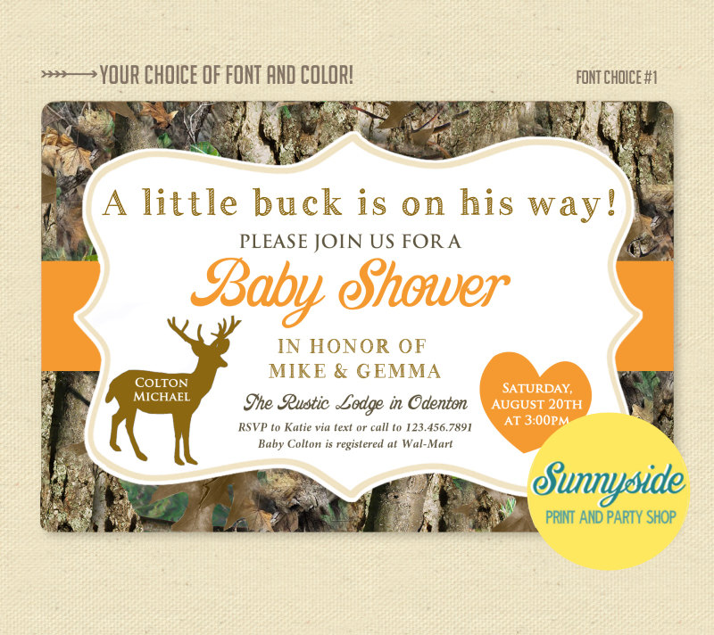 Little Deer Hunter - Camo Camouflage Baby Shower Invitation - Printable Invite - Buck or Doe