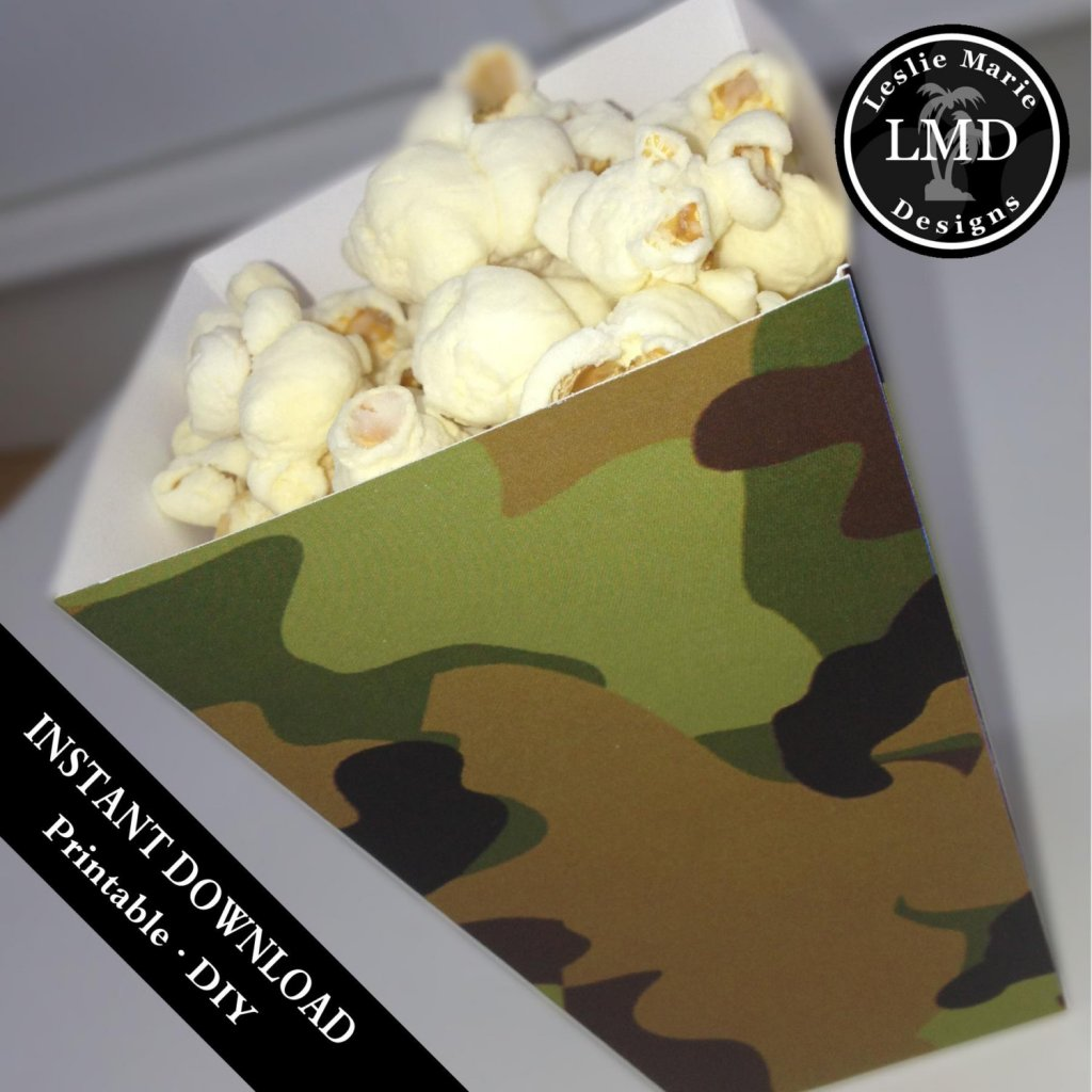 MINI POPCORN BOX - Printable Favor Box - Printable Treat Box - Camouflage