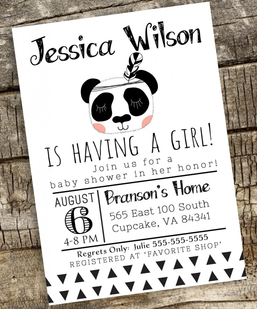 Panda Baby Shower Invitation, Bear Baby Shower Invitation, Digital File 5x7 or 4x6, Boho Baby Shower Invitation