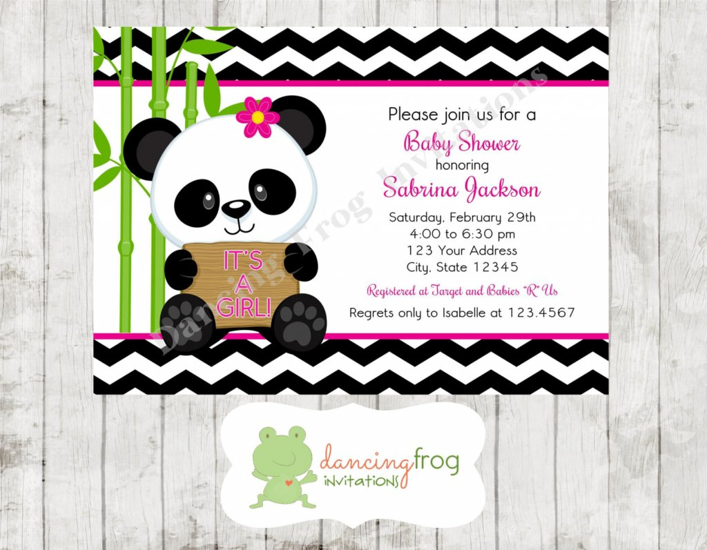 Panda Bear Pink or Blue Baby Shower Invitations - Printed Panda Baby Shower Invitation by Dancing Frog Invitations