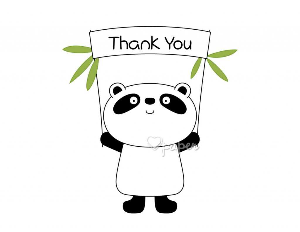 Panda Bear Printed Thank You Cards