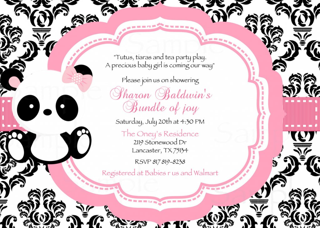 Polka Dot Baby Panda Baby Shower Invitation