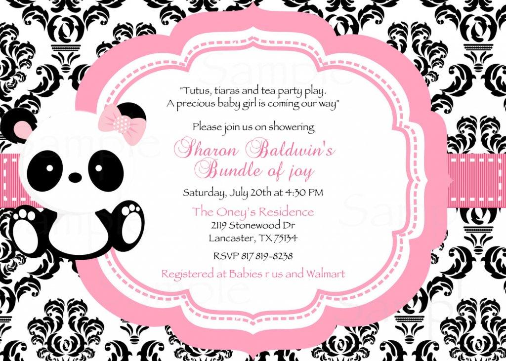 polka dot baby panda baby shower invitation