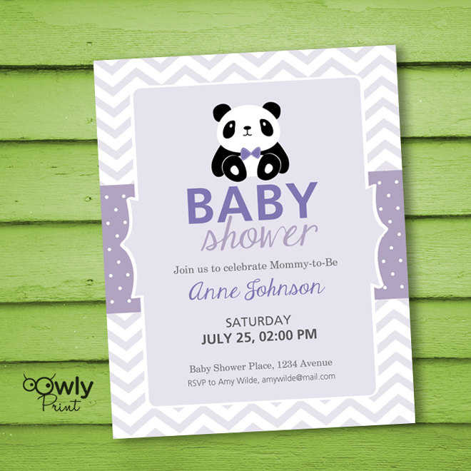 Printable Personalized Baby Shower Invitation . Baby Shower Invitation. PDF  Panda Baby Shower Invitation