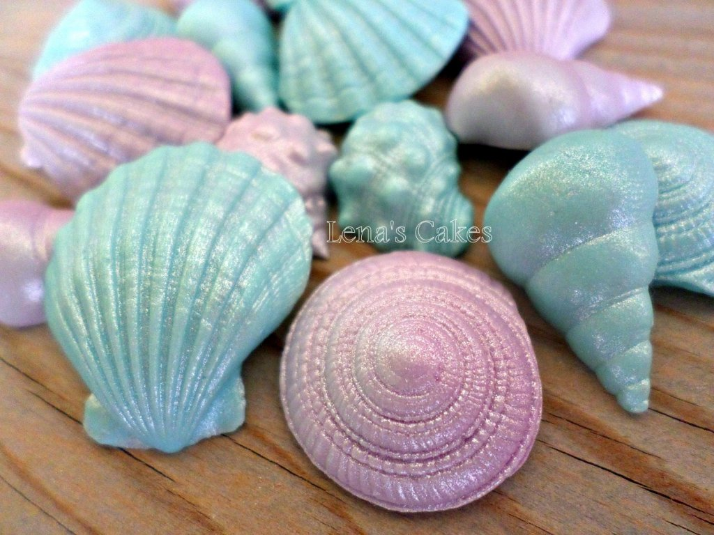 24 Mermaid Edible Fondant Shells Favors, Cake Topper Cupcake, Under The Sea  Birthday Decor