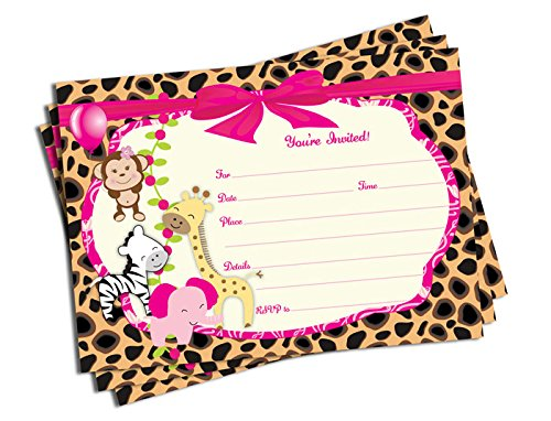 50 Girl Pink Jungle Invitations (5x7)- Baby Shower