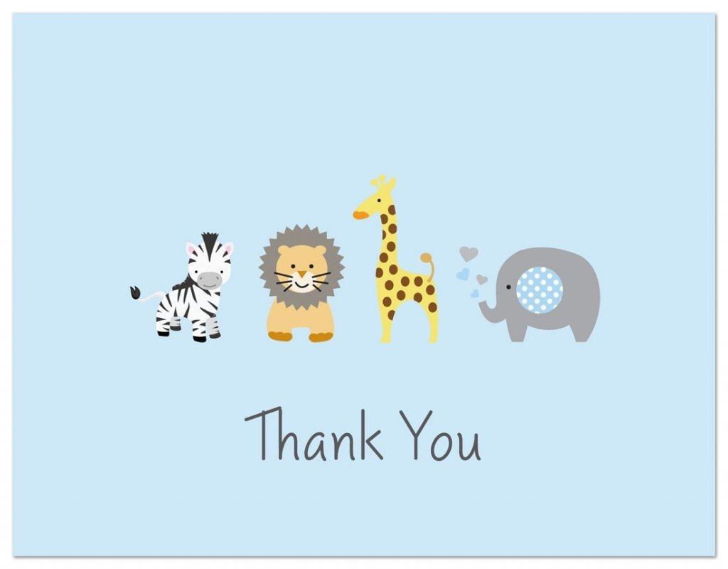 50 Safari Animals Baby Shower Thank You Cards (Light Blue)