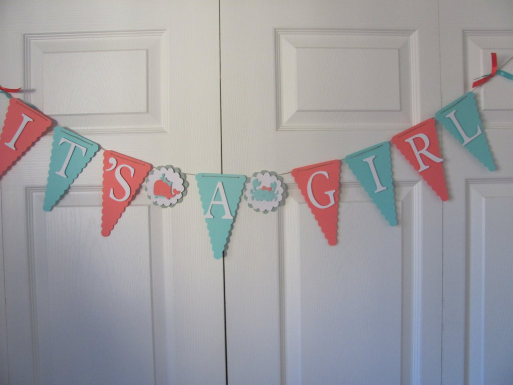 coral and turquoise baby shower banner baby shower decorations under the sea baby shower