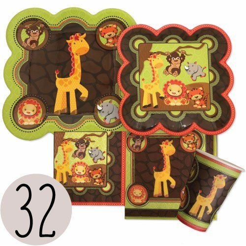 Funfari - Fun Safari Jungle - Party Tableware Plates, Cups, Napkins - Bundle for 32