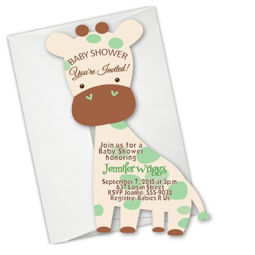 Safari baby shower ideas baby ideas giraffe safari jungle die cut baby shower invitations filmwisefo