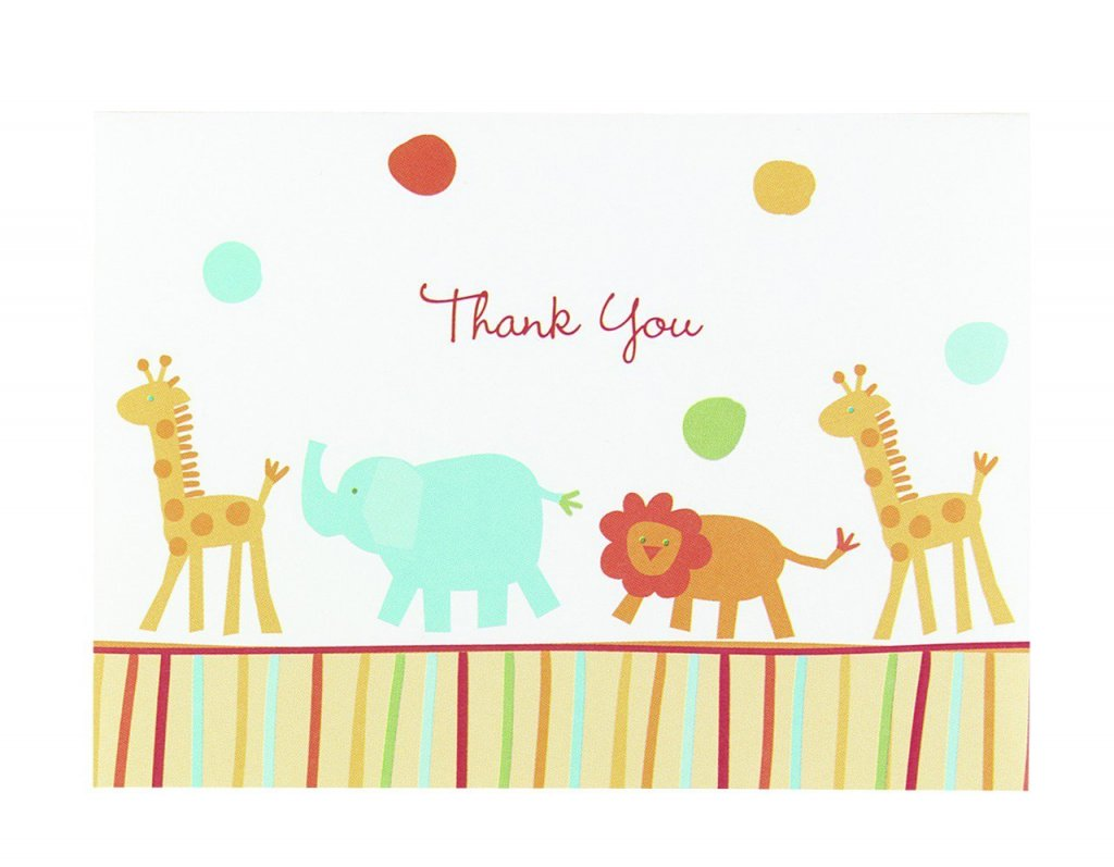 Hortense B. Hewitt Jungle Animals Thank You Cards, Set of 25