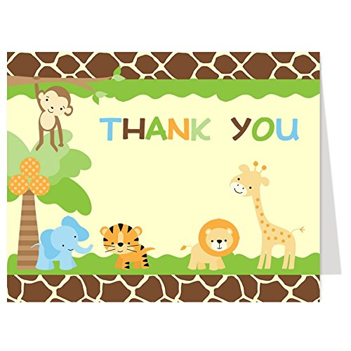 Jungle Safari, Baby Shower, Thank You Cards, Animal Print, Multi-Color, Giraffe, Lion, Tiger, Elephant, Monkey, Set of 50 Thank You Notes with Envelopes, FREE Shipping