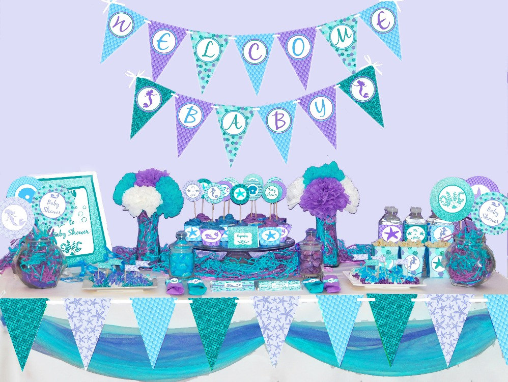 mermaid baby shower decorations printable under the sea baby shower