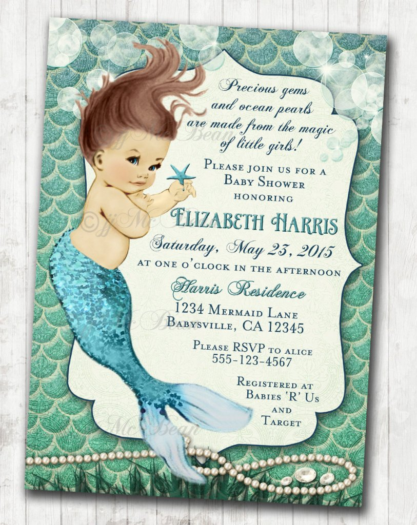 Mermaid Baby Shower Invitation Little Mermaid Ocean Baby Shower Under The Sea Aqua Seafoam Green - DIY Printable