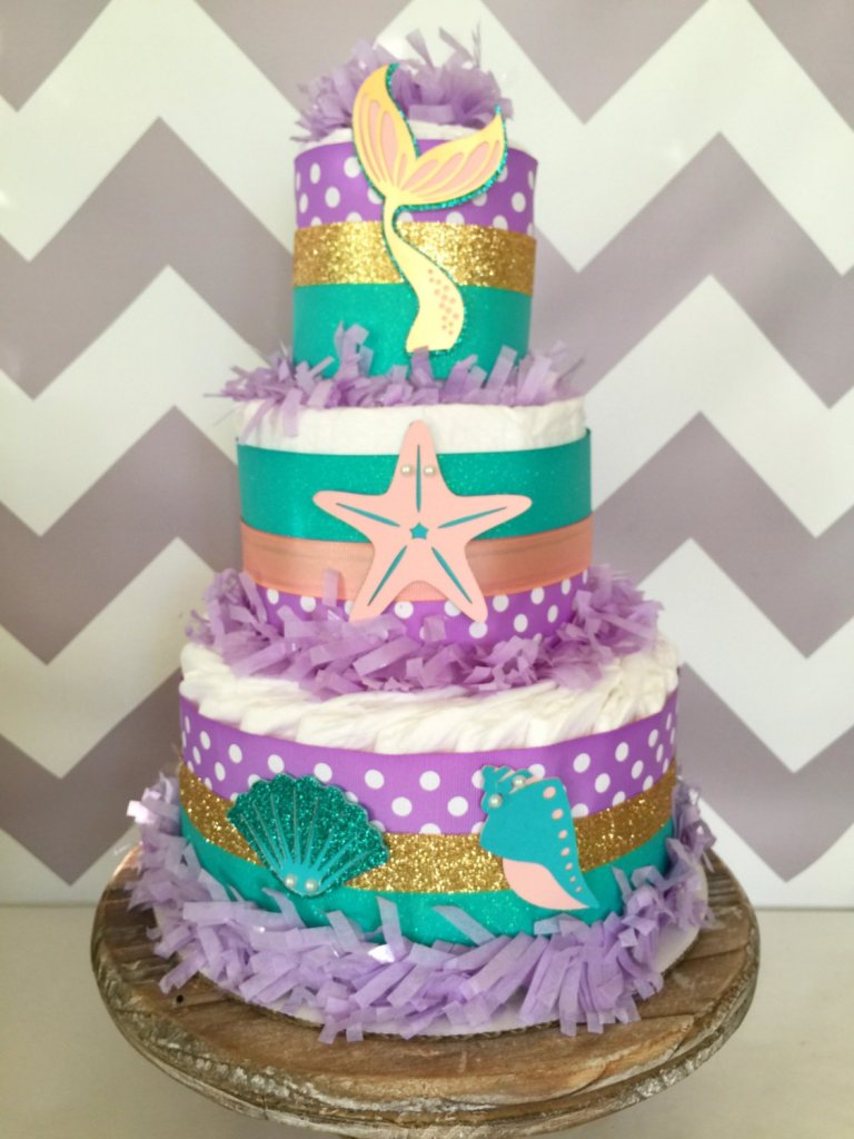 Mermaid Diaper Cake, Under the Sea Baby Shower Centerpiece, Mermaid Baby Shower Decoration