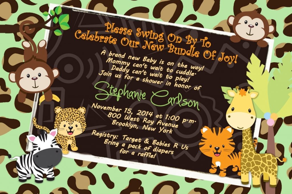 Personalized Baby Shower Invitations Jungle Tiger Lion Monkey Cards Custom Printed!