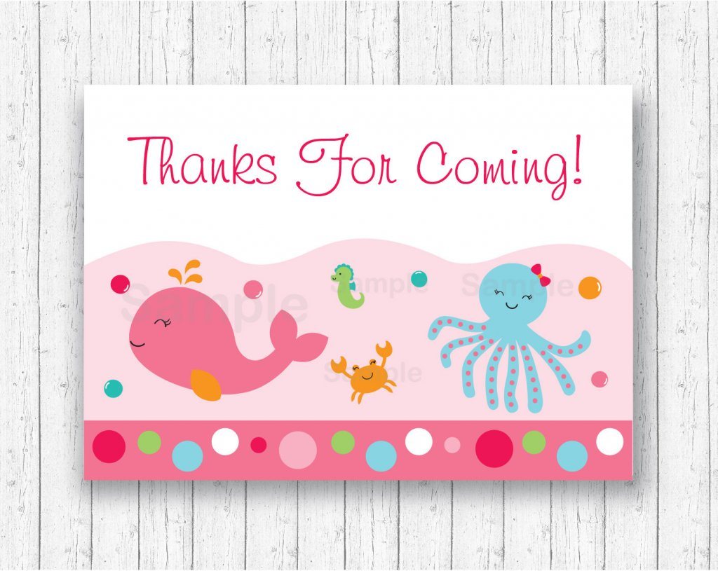 Pink Under The Sea Party Favor Tags / Under The Sea Thank You Tags / Under The Sea Shower / Under The Sea Birthday / INSTANT DOWNLOAD