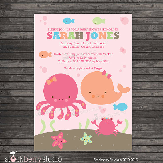 Pink Under the Sea Baby Shower Invitation Printable - Girl Under the Sea Baby Shower Invites - Under The Sea Invitation - Girl Baby Shower