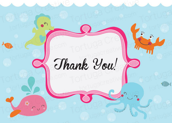 Printable Under the Sea Baby Shower Thank You Cards