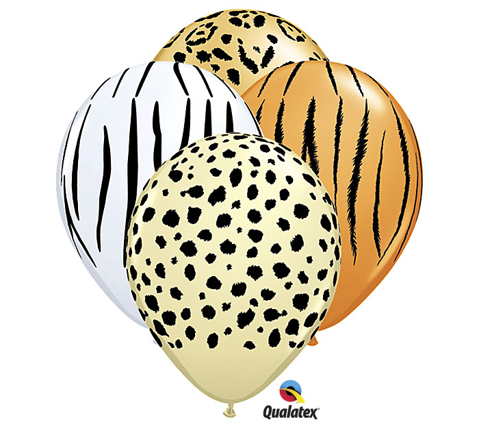 Safari Print Zebra Leopard Tiger Cheetah Print Latex Party Supply Balloons