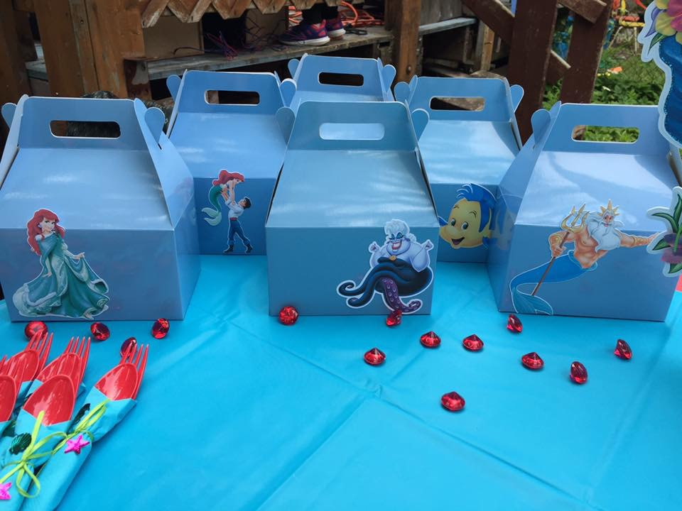 The Little Mermaid,Favors Gable Boxes,Birthday Decorations,Party Supplies,Baby Shower,Under the Sea,Favor containers,Mermaid Birthday,Girl