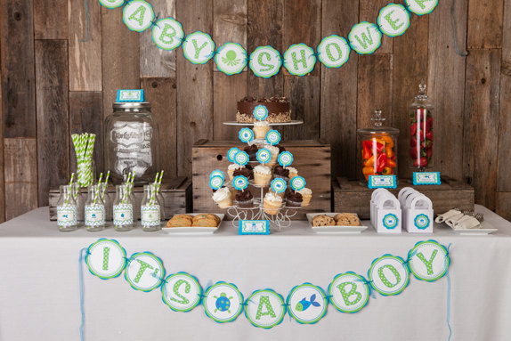 Under the Sea Baby Shower Decorations - IT'S A BOY Baby Shower Banner - Ocean Baby Shower Decorations - Ocean Shower Theme
