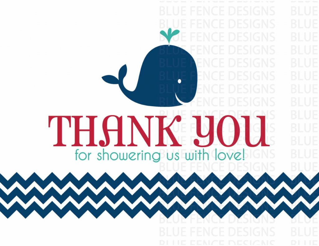 Under the Sea Baby Shower Thank You card, Gender Neutral, Whale, Octopus, red, blue, nautical, beach, ocean, printable, digital, invitation