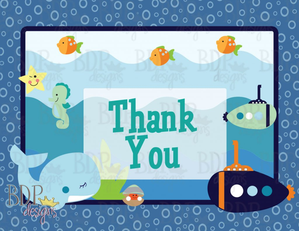 Under the Sea Blue Lagoon Thank you Card (4.25x5.5)