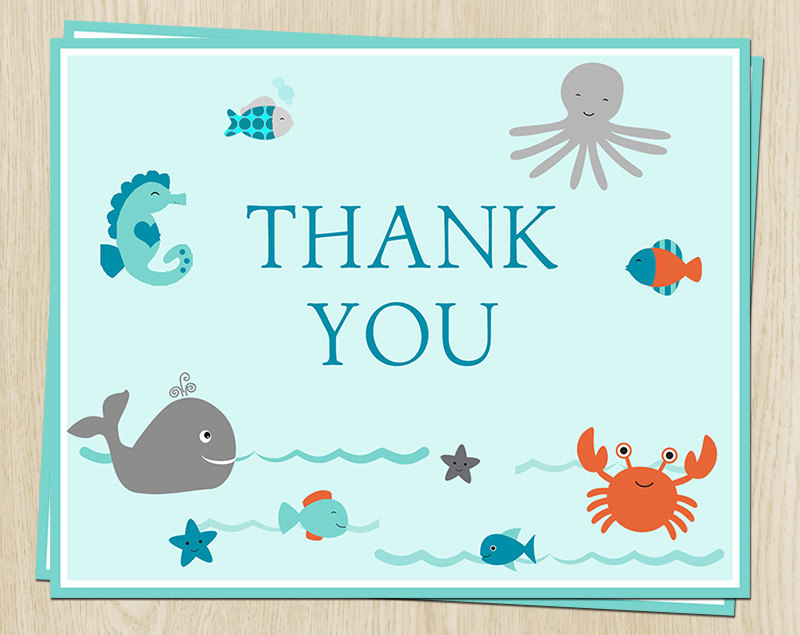 Under the Sea Thank You Cards, Baby Shower, Birthday, Blue, Aqua, Ocean, Whale, Crab, Fish, Set of 24 Folding Notes, SEABD, Sea Buddies