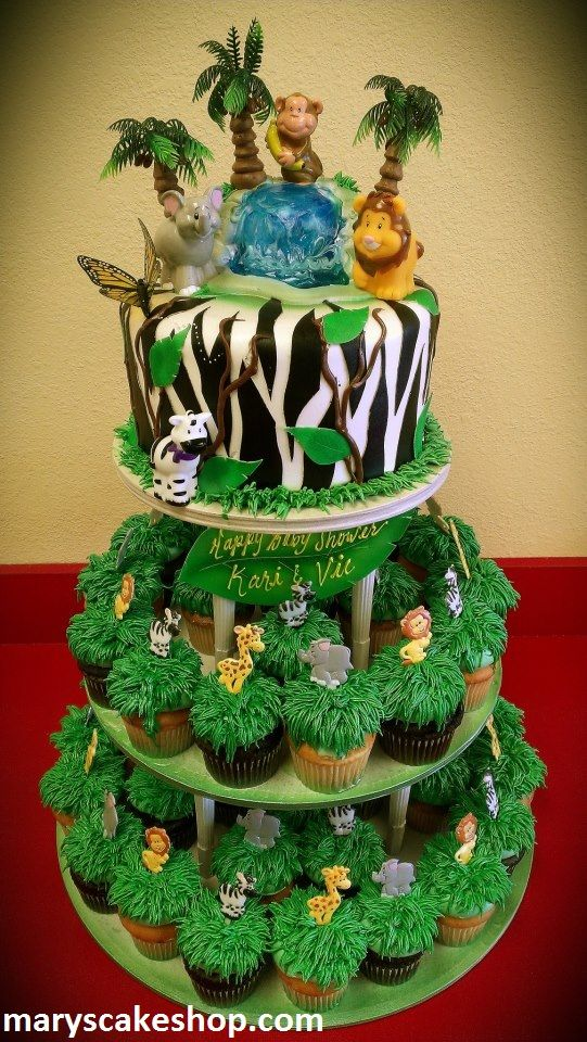 safari cake and cupcake comb